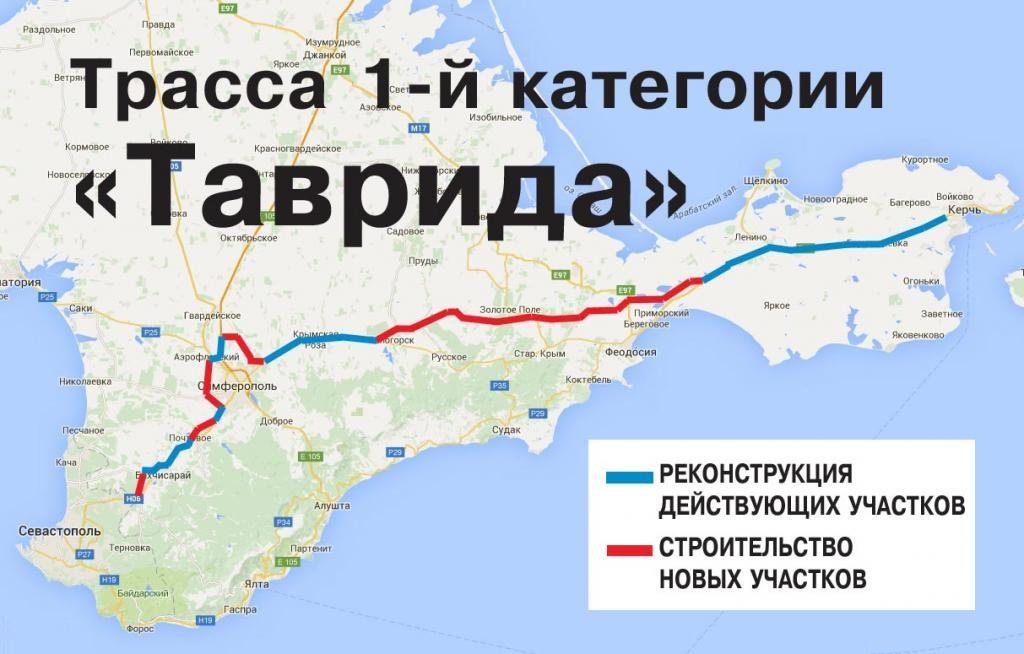 Трасса Таврида Крым на карте